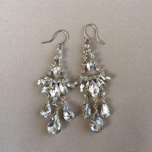 Silver Chandelier Diamond Earrings-Costume Jewelry